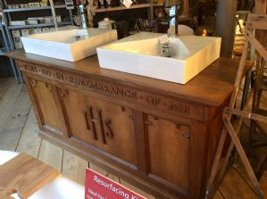 Oak Twin bathroom wash basin unit, made from a church alter